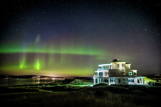 Clubhouse with Aurora Borealis